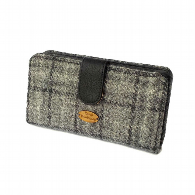 Harris tweed large purse wallet grey black check fabric clutch