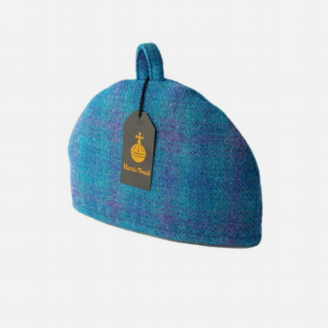 Harris Tweed small tea cosy, bright blue check 2 cup teapot cover fabric cozy.