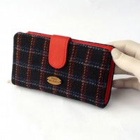Harris tweed large purse wallet black and red fabric clutch