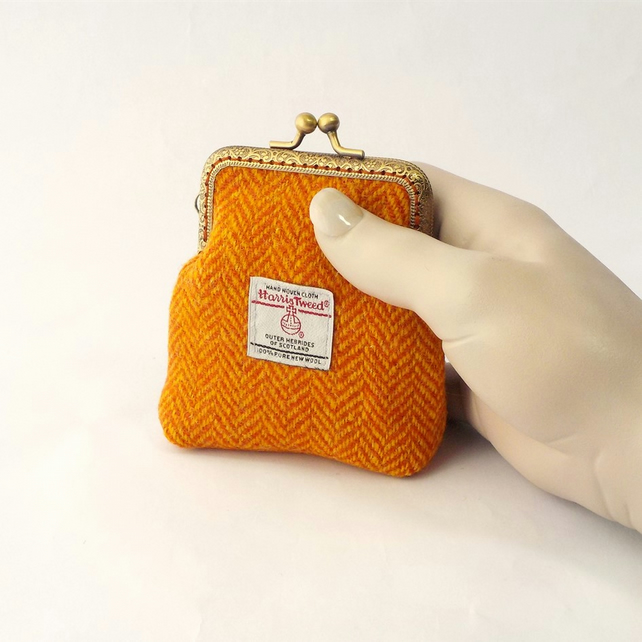 Harris tweed purse orange herringbone kiss clasp coin purse gift for Mum