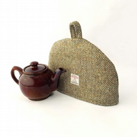Harris Tweed small tea cosy, olive herringbone 2 cup teapot cover fabric cozy.