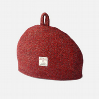 Harris Tweed small tea cosy, red grey herringbone 2 cup teapot fabric cover