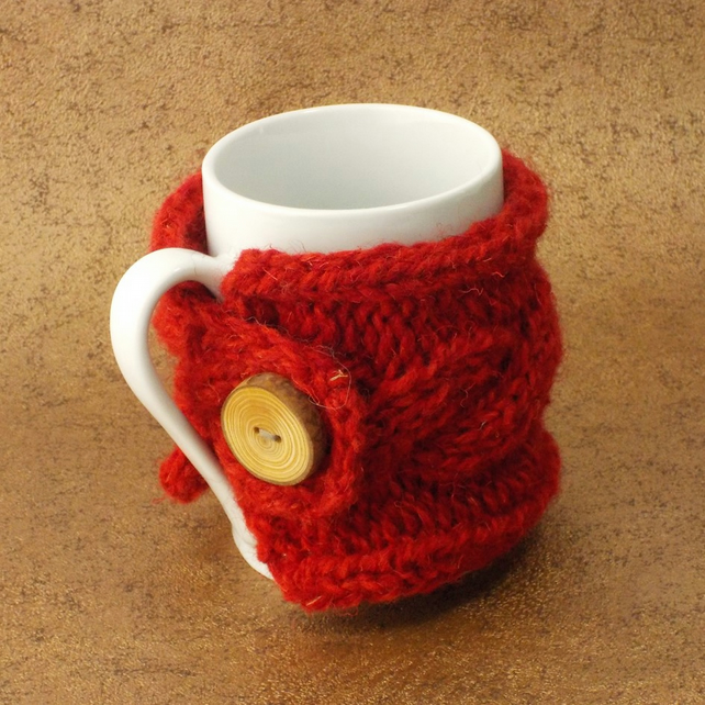 Mug cosy handknit British wool with handmade wooden button bright red