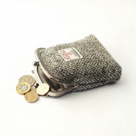Harris tweed grey purse kiss clasp coin purse