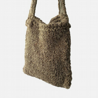 British Herdwick wool dark grey shoulderbag chunky knit bag
