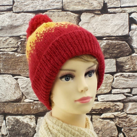 Bobble hat pure British wool red and yellow Exmoor Horn winter ski hat