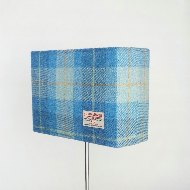 Harris Tweed rectangular lampshade blue tartan wool fabric table lamp shade