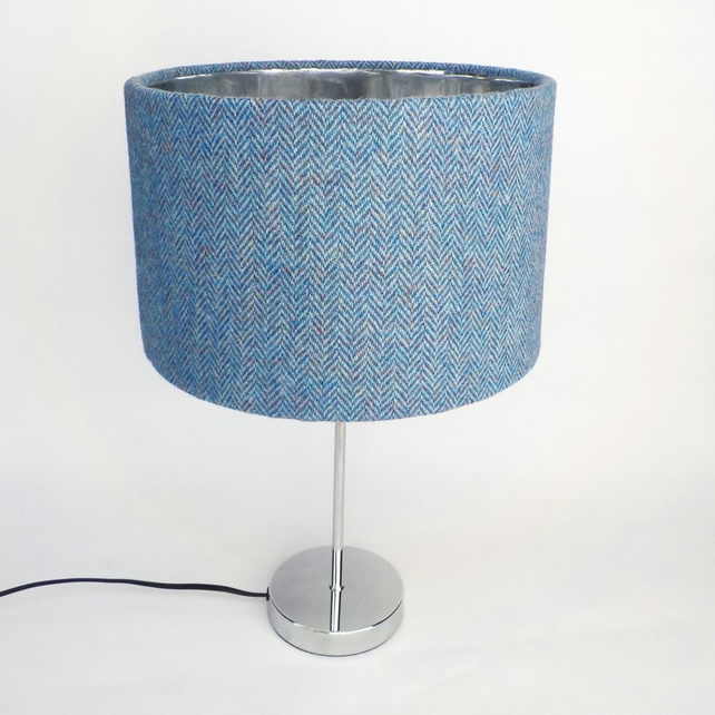 Harris Tweed large drum lampshade blue herringbone fabric lamp shade
