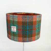Harris Tweed large drum lampshade brick red turquoise green fabric lamp shade