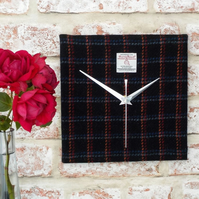 Harris Tweed square clock black fabric wall clock multicolour lines
