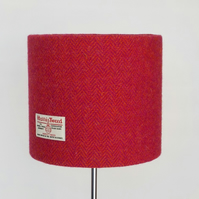 Harris Tweed medium drum lampshade pink orange herringbone table lamp shade