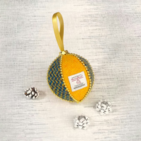 Harris tweed bauble Christmas tree decoration yellow blue and black ornament