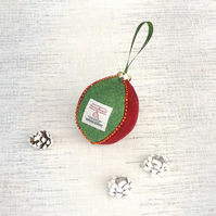 Harris tweed bauble Christmas tree decoration red and green ornament