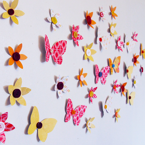 Vintage Patterned Flower and Butterfly 3D Wall Art Decoration