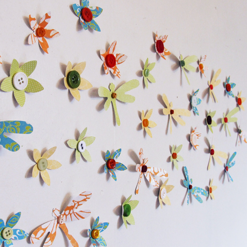 Vintage Patterned Dragonfly and Flower 3D Wall Art Decoration