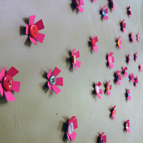 Funky pink flower and button 3d wall art decora folksy for 3d flowers for wall decoration