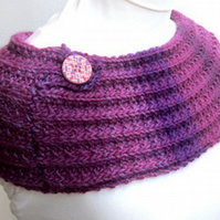 Knitted cowl, knitted purple cowl, winter fashion, Yarnawayknits