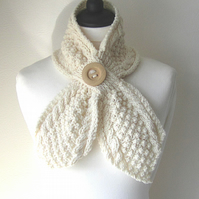 Cream scarf, butterfly shaped scarf, Cream neckwarmer, Winter accessories
