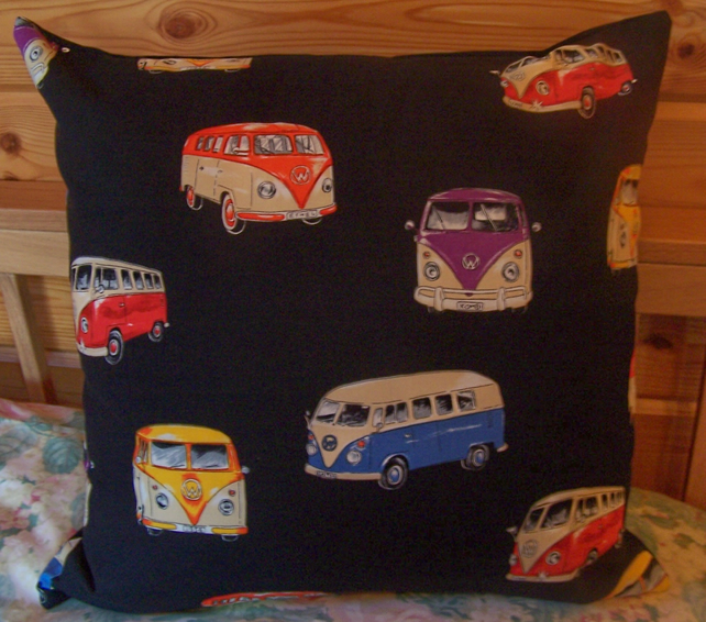 VW Camper Van Cushion Cover and Pad 18 inches by 18 inches