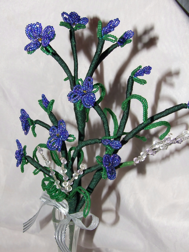 Hand Made Stem of Beaded Violets