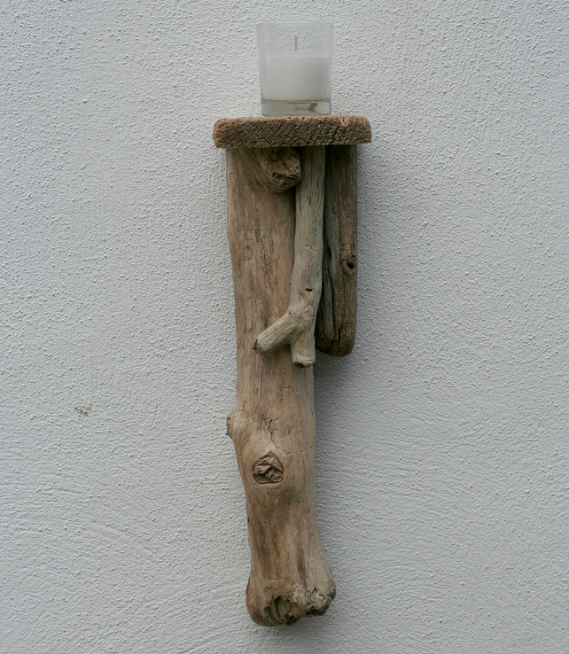 Driftwood candle holder, wall hanging candle sc... - Folksy