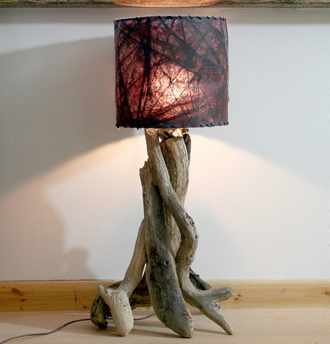 driftwood lamp drift wood table lamp shade no folksy