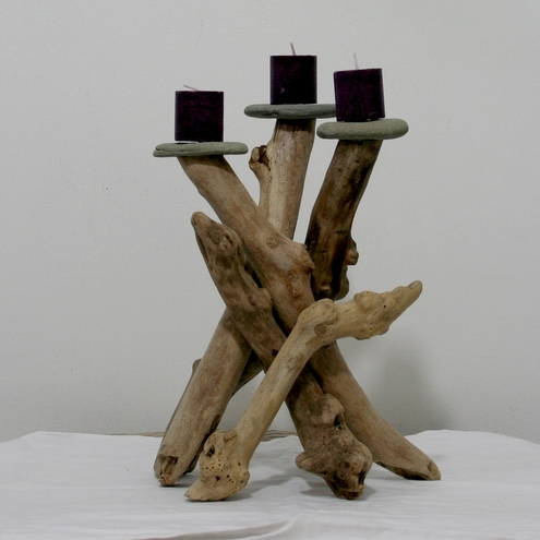 Driftwood candle holder cornish driftwood art folksy for Driftwood table centerpieces