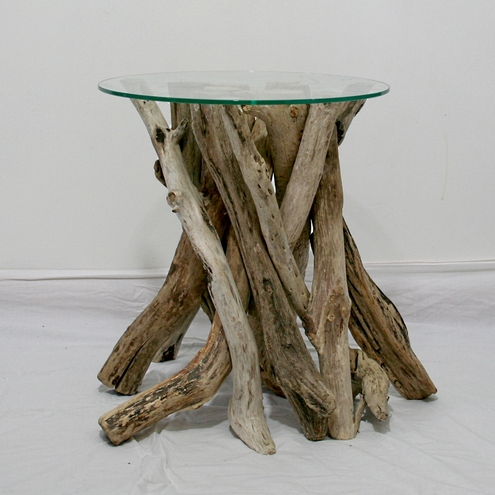 Driftwood End Table Drift Wood Glass Top Folksy