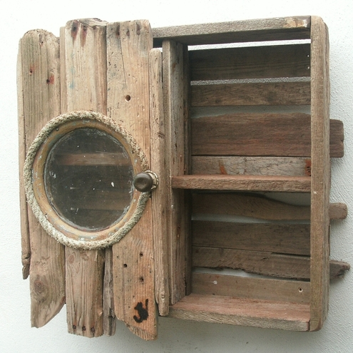 DRIFTWOOD CABINET/CUPBOARD~BATHROOM CABINET WITH PORTHOLE