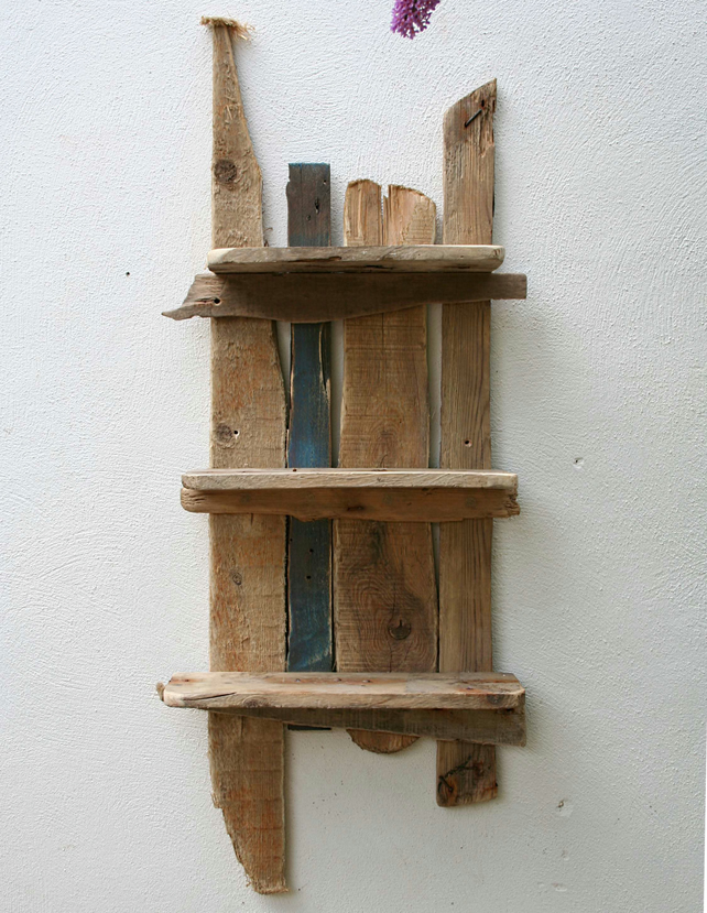 driftwood and reclaimed wood shelves bathroom folksy