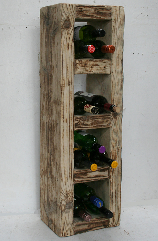 Reclaimed Solid Wood Wine Rack 16 Bots Rustic C Folksy