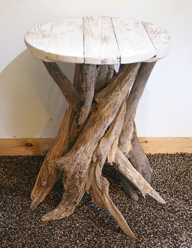 driftwood coffee table drift wood side table folksy. Black Bedroom Furniture Sets. Home Design Ideas