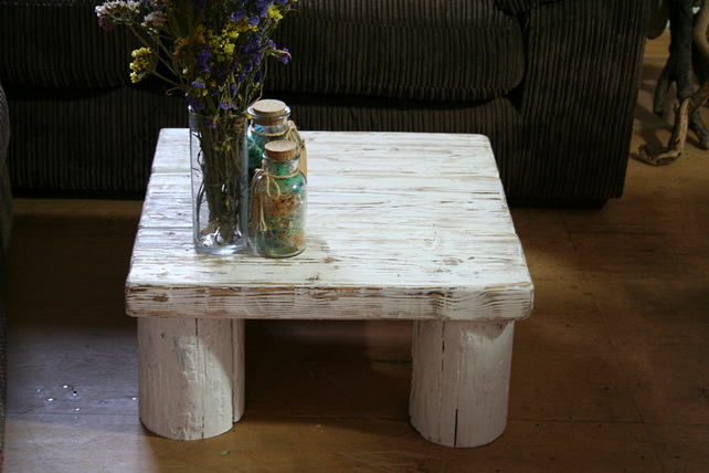 Beach Style Coffee Table White Washed Low Coffe Folksy