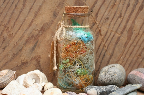 Flotsam and Jetsam,Beach finds In A Jar,Table Decoration,Recycled Marine Litter