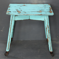 Vintage 1940's 50's side table with wheels,Turquoise distressed painted Table