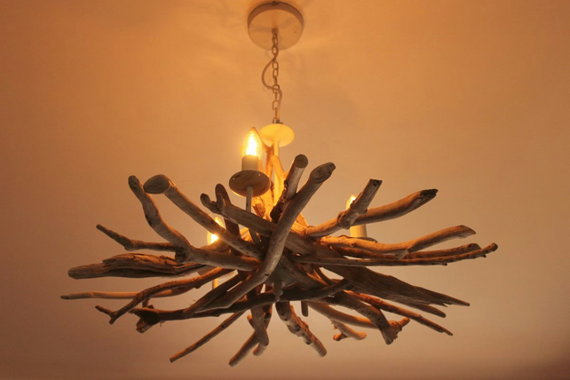 Driftwood chandelier, Driftwood adjustable chain, Driftwood light Fitting