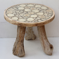 Round Driftwood Coffee Table, Glass Top Driftwood Coffee table, Drift Wood Table