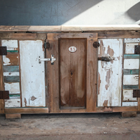 Industrial Upcycled Wood Sideboard,Old painted Wood Sideboard