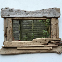 Bleached  Driftwood Mirror,Drift Wood Mirror,Driftwood Mirrors Cornwall UK
