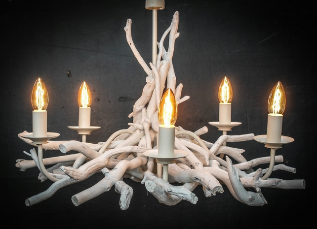 White Washed Driftwood Chandelier,5 light White Chandelier,adjustable drop.