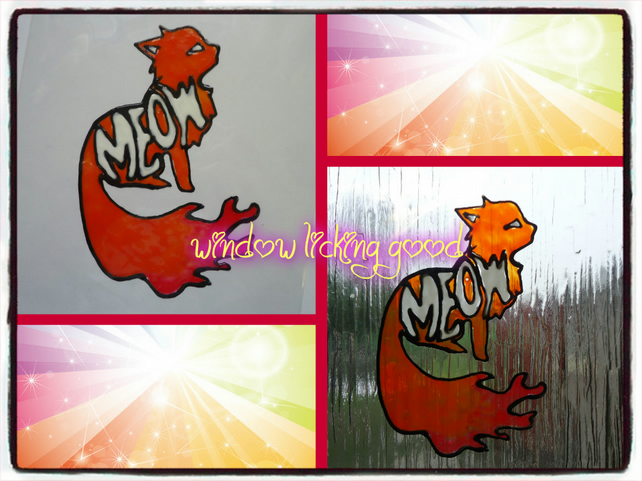 Cat silhouette with the word MEOW window cling great for mirrors or windows