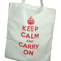Keep Calm and Carry On Bag - hand screen printed