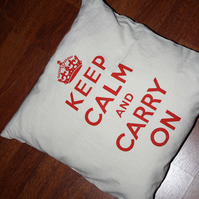 Keep Calm and Carry On - Hand Screen-Printed Cushion Edit Title