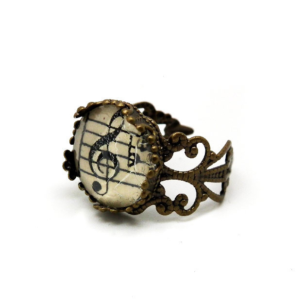 Antique Bronze Vintage Sheet Music Paper Ring Treble Clef Filigree