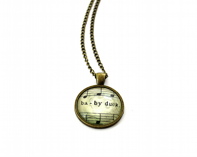 20% OFF! Antique Bronze Vintage Sheet Music Necklace - 'Baby Duck'
