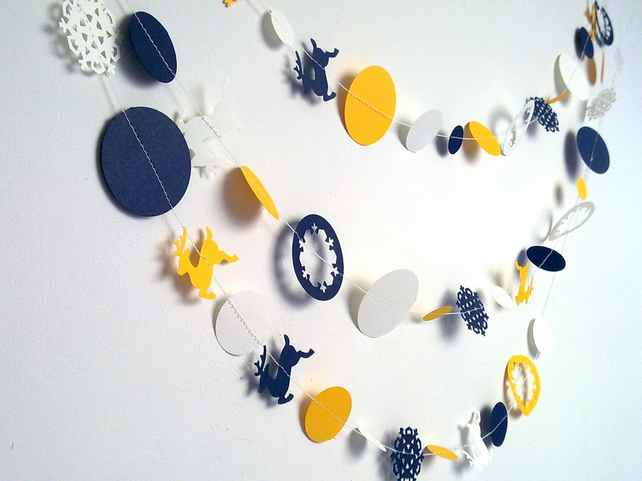 Nordic Paper Garland in China White,Indigo and Sunflower,Christmas Decoration