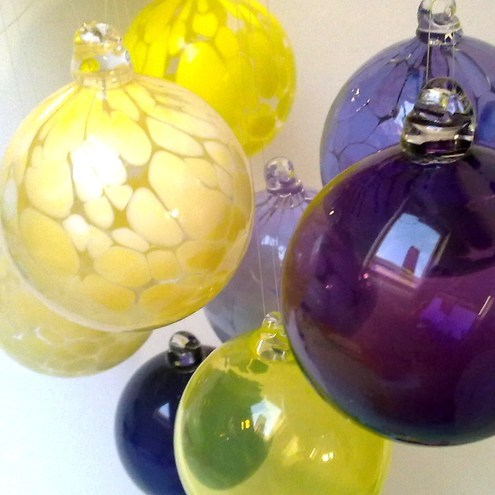 French Vanilla Hand Blown Glass Bauble, Christmas Ornament,