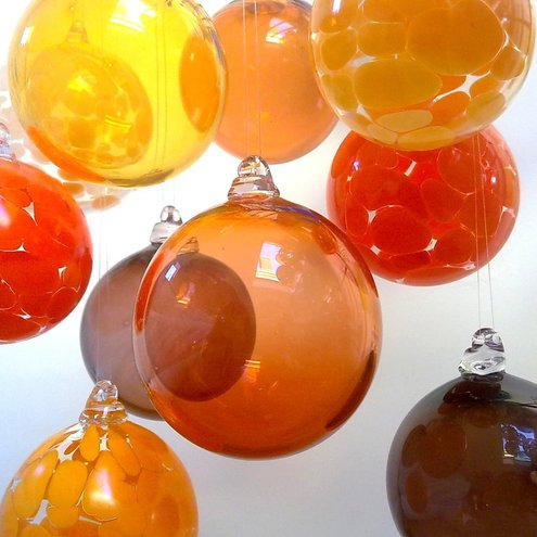 Hand Blown Glass Bauble, Christmas Ornament, Apricot.