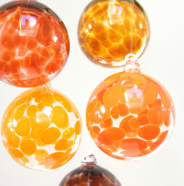 Sunset Orange, Handmade Blown Glass Christmas Bauble