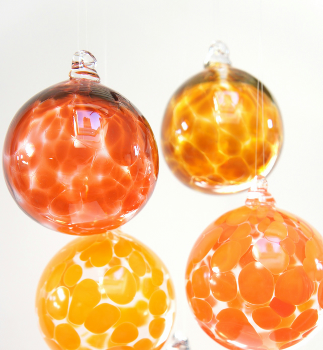 Rich Apricot Colour Handmade Blown Glass Bauble